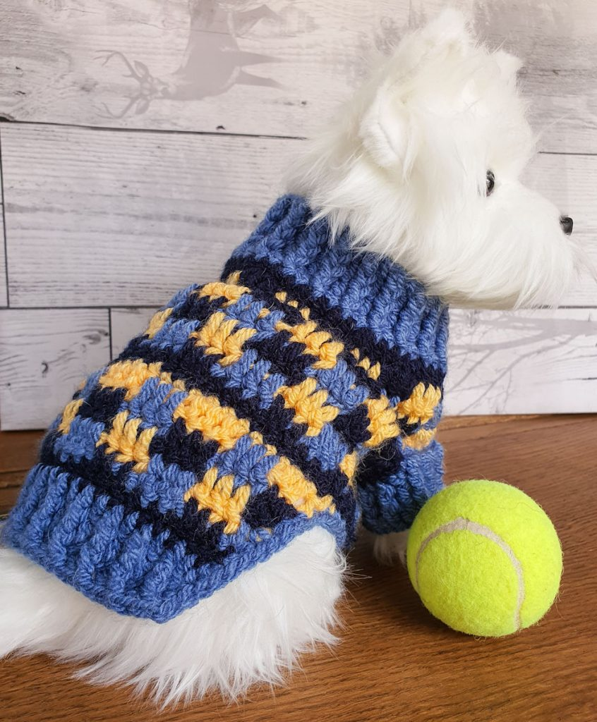 crochet dog sweater back view