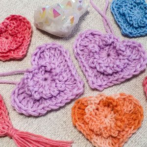 Quick boho crochet hearts