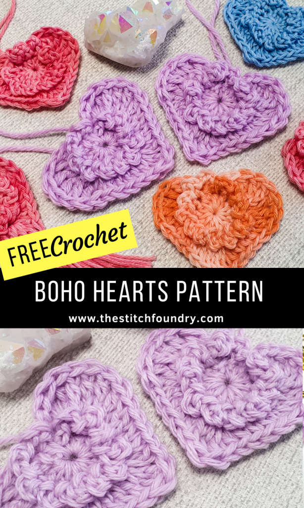 Free crochet hearts pattern quick and easy