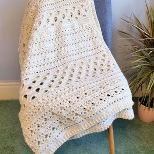 Textured Crochet Throw Blanket